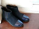Сапожки для девочек из натуральной кожи на байковой подкладке Лель (LEL), цвет синий. Изображение 3 из 20.