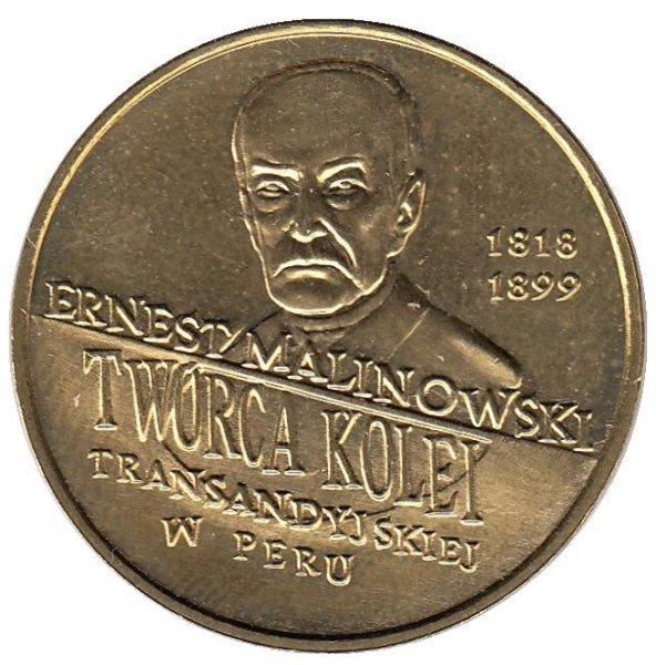 2 злотых 1999 год, Польша. Эрнест Малиновский. 1818-1899 гг. Путешественники и исследователи. UNC