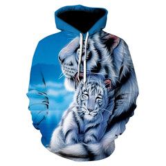 Толстовка утепленная  3D принт, Тигр (3Д Теплые Худи Tiger) 02
