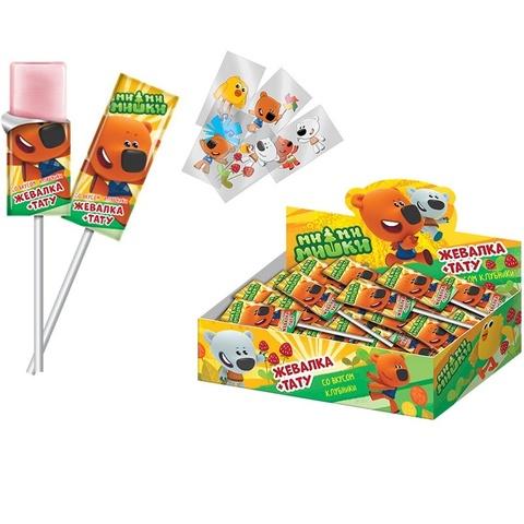 МИ-МИ-МИШКИ Жевательная конфета на палочке со вкусом клубники 1кор*12бл*50шт, 11,2 г.