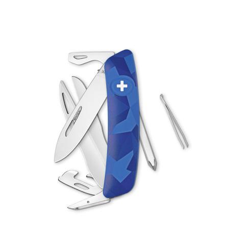 Швейцарский нож SWIZA D08 Camouflage, 95 мм, 12 функций, камо синий