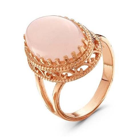 Кольцо с розовым кварцем и позолотой