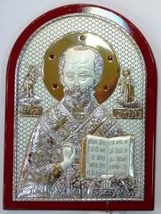 Серебряная с золочением инкрустированная гранатами икона святителя Николая Чудотворца (Угодника) 20х14,5см в подарочной коробке