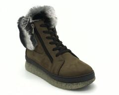 Зеленые ботинки на шнуровке с меховой опушкой