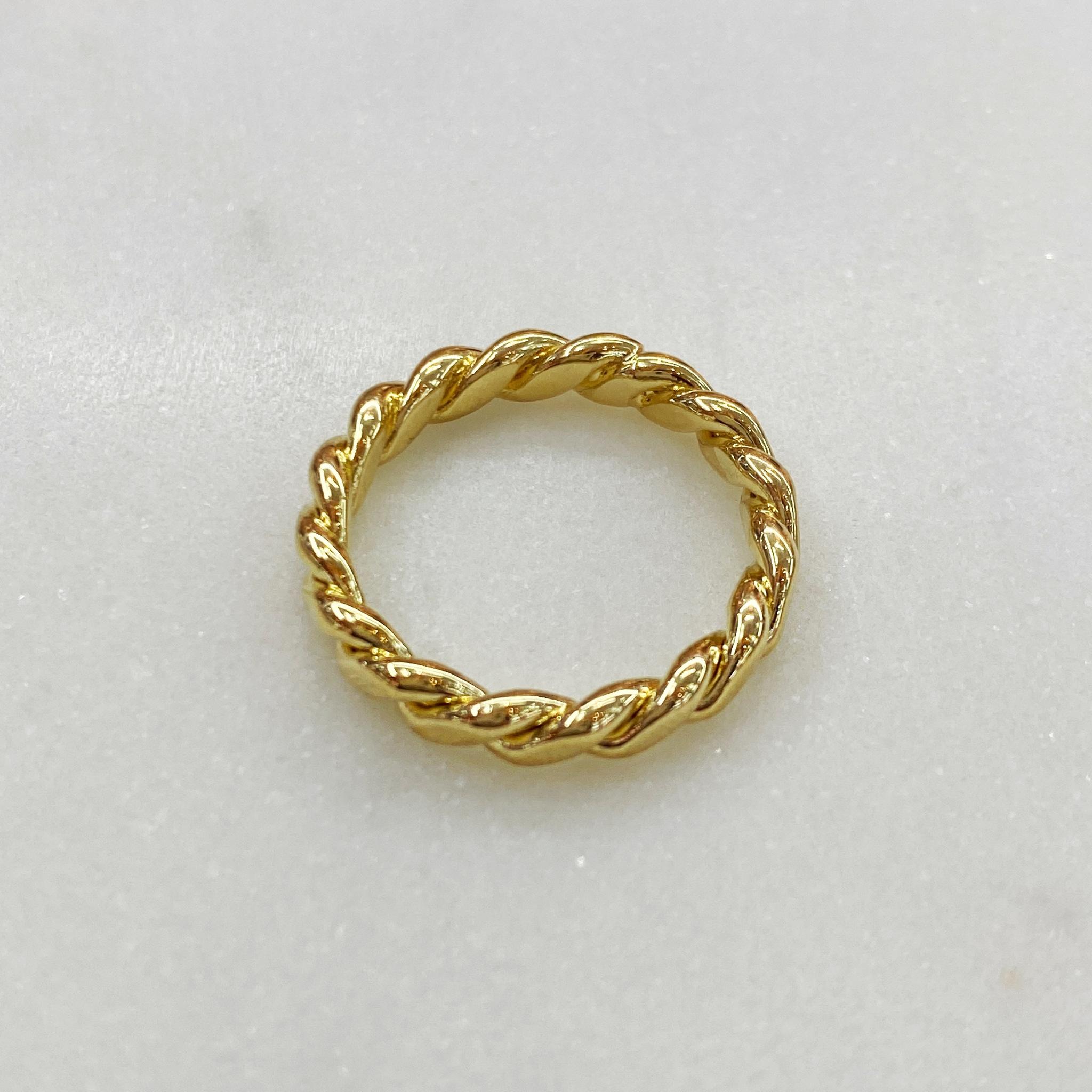 Кольцо веревочного плетения (золотистый)