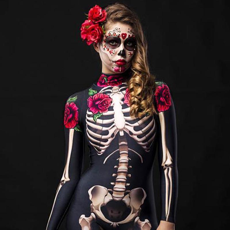 Костюм детский с принтом Скелета и роз