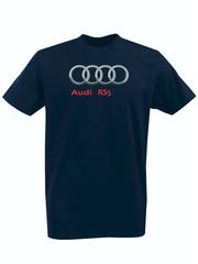 Футболка с принтом Ауди RS5 (Audi RS5) темно-синяя 0010