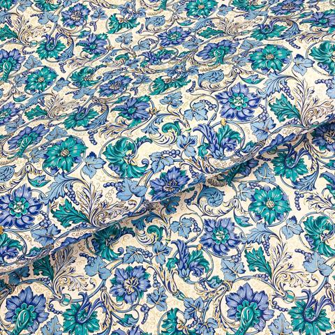 Бумага декоративная подарочная Голубой флорентийский узор