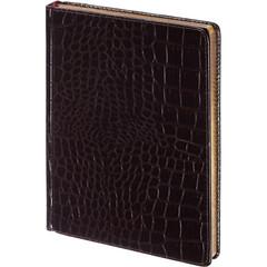 Ежедневник недатированный Альт Caiman искусственная кожа А5 136 листов коричневый (золотистый обрез, 145х205 мм)