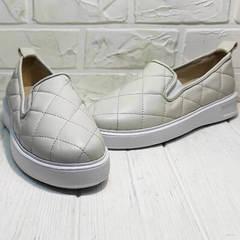 Кожаные слипоны туфли женские на низком ходу Alpino 21YA-Y2859 Cream.