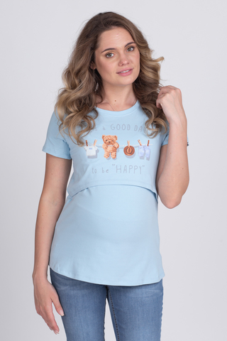 Футболка для беременных и кормящих 10590 голубой/мишки