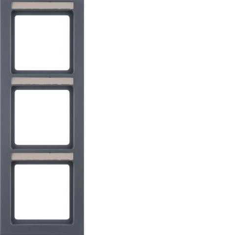 Рамка на 3 поста с полем для надписей вертикальная. Цвет Антрацит. Berker (Беркер). Q.3. 10536086