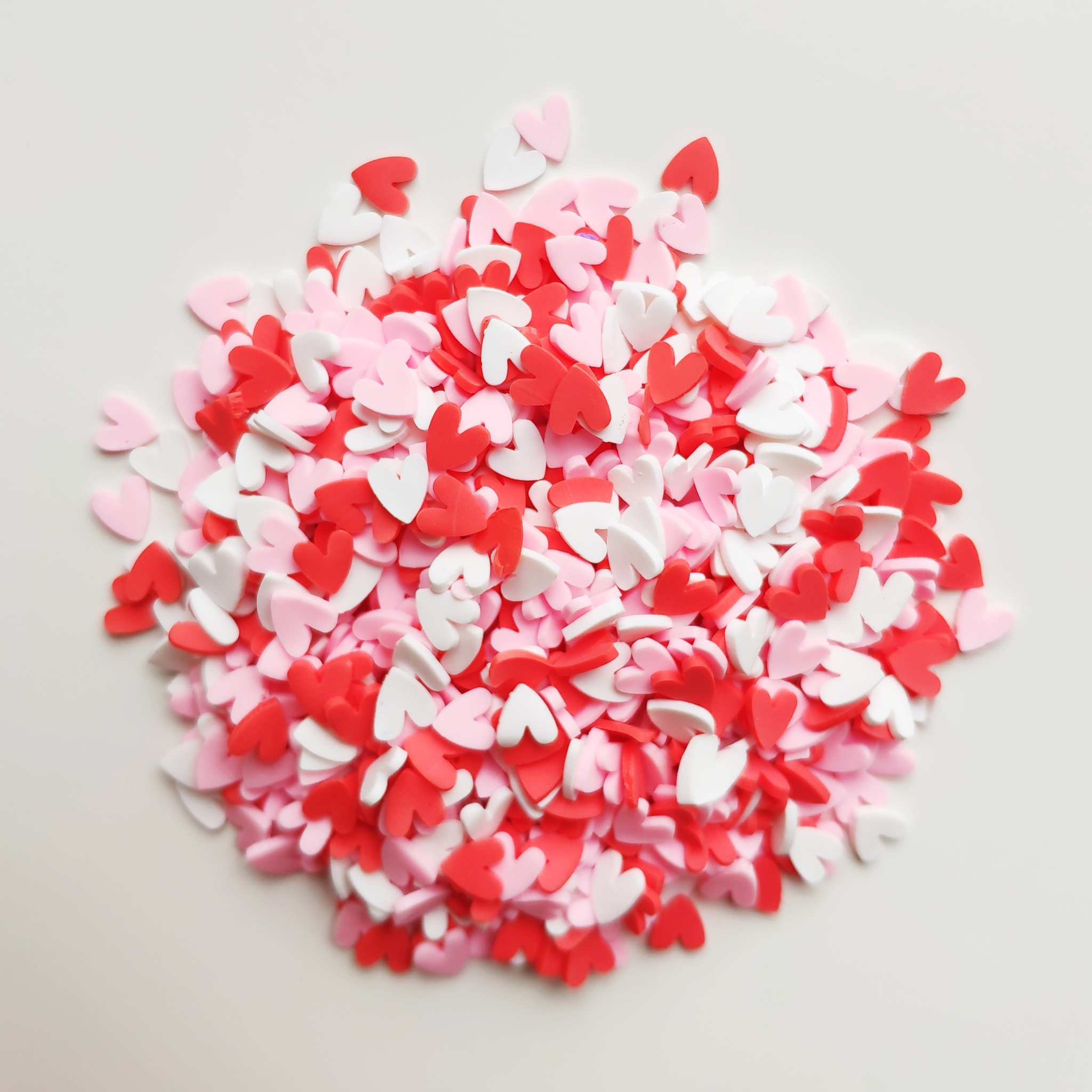Посыпка для слайма сердечки розовые + красные 30 мл