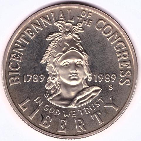 1/2 доллар 1989 (S). США UNC (200 лет конгресса). Медь с плакировкой