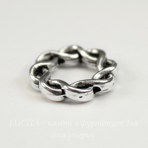 Рамка для бусины - кольцо  витое (цвет - античное серебро) 15 мм