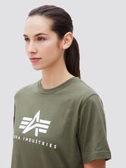 Футболка Alpha Industries Basic Logo Olive Женская (Зеленая)