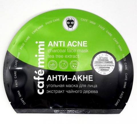 КМ Угольная тканевая маска для лица Анти-Акне, 22 гр