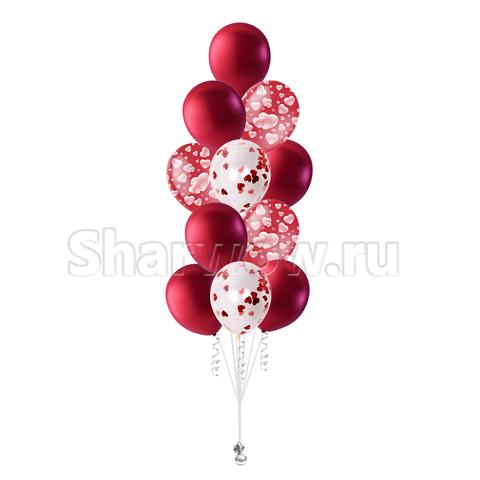 фонтан шаров красный с сердечками