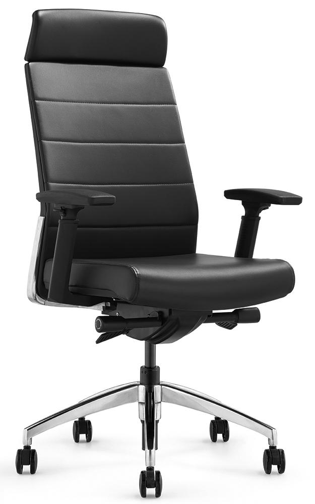 Кресло руководителя Andico HB черная кожа - вид 1