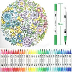 Набор акварельных маркеров FineLiner, кисть + линер,  100 цветов