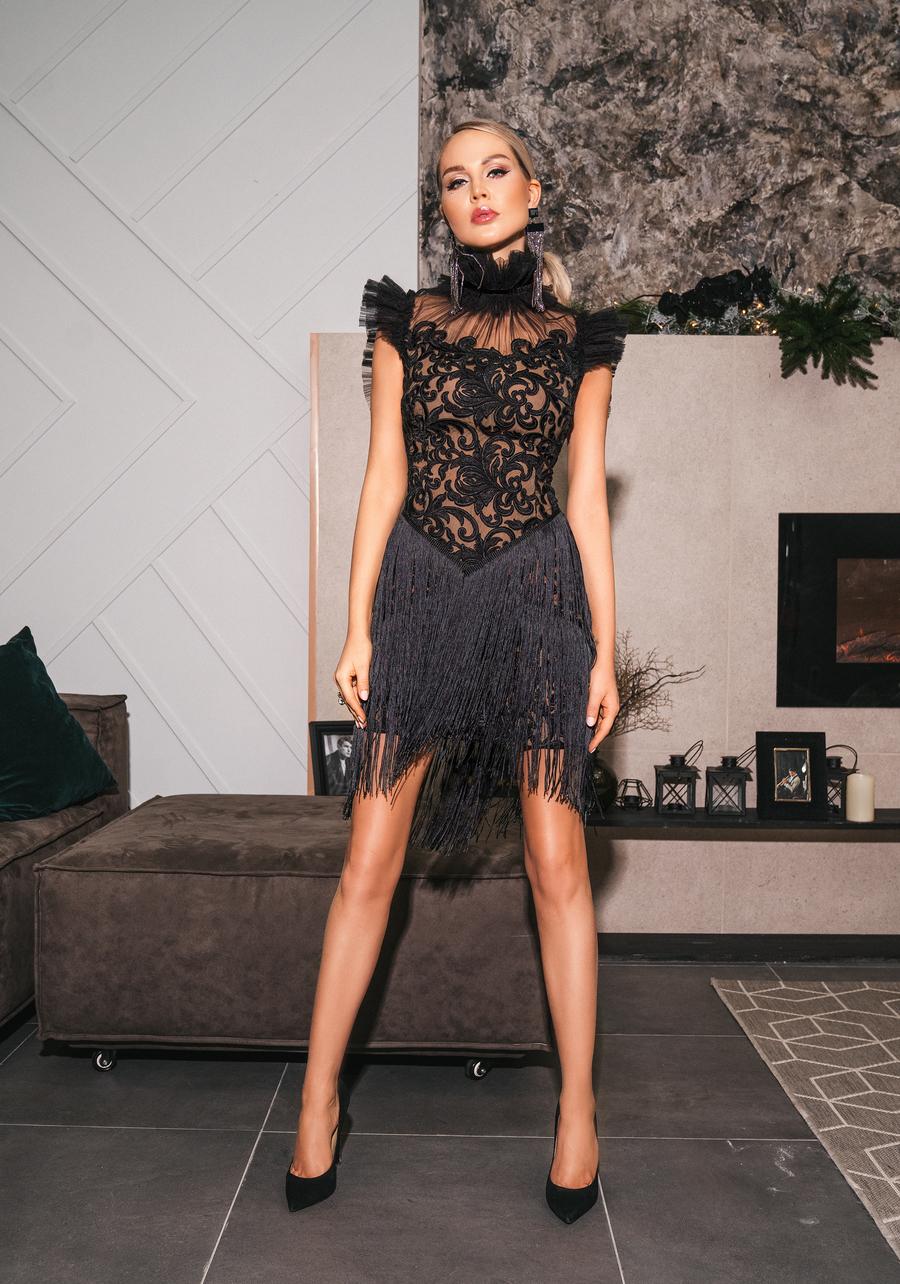 Платье черное кружевное в стиле гэтсби