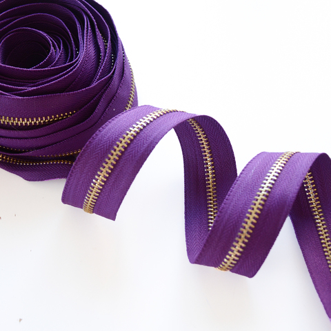 Молния металлическая №5, фиолетовый, цена за 10 см., золотое звено