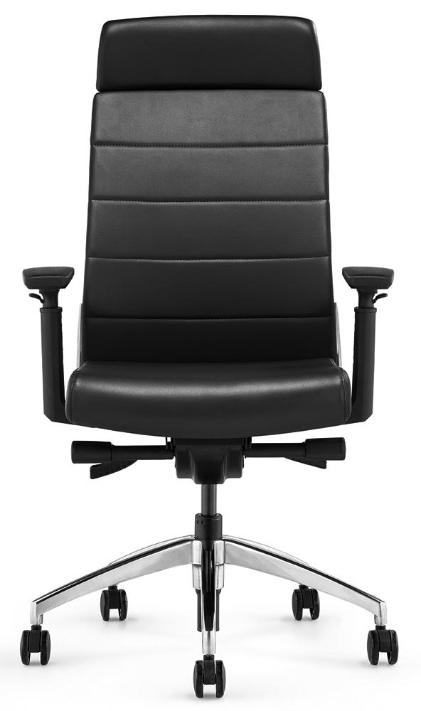 Кресло руководителя Andico HB черная кожа - вид 2