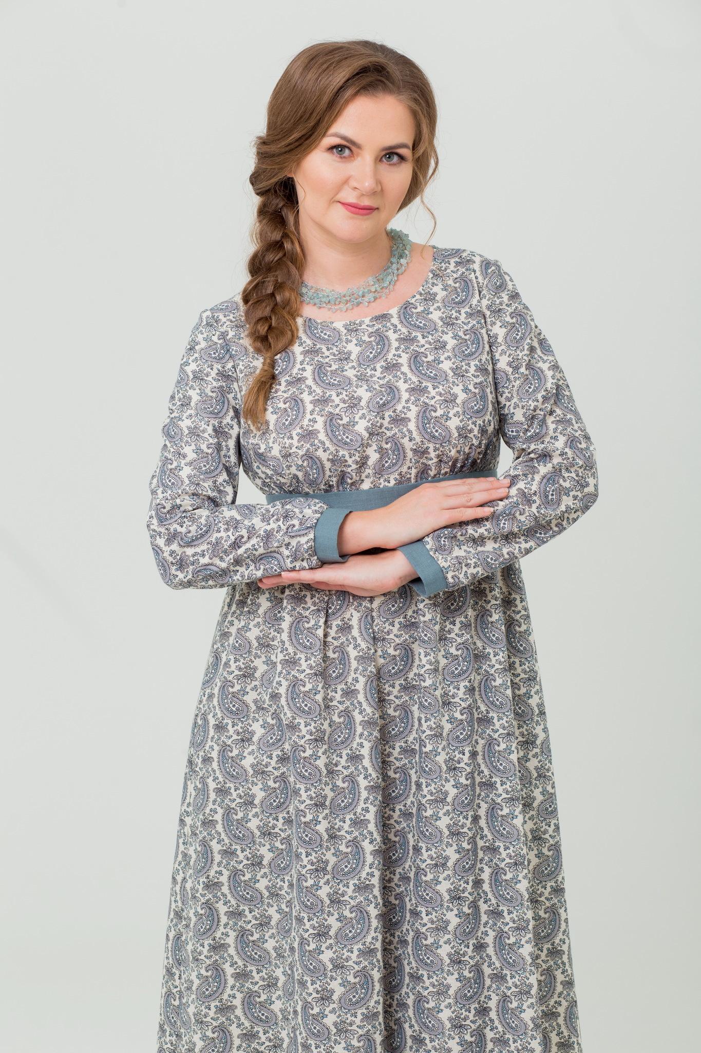 Платье льняное с длинным рукавом Славное