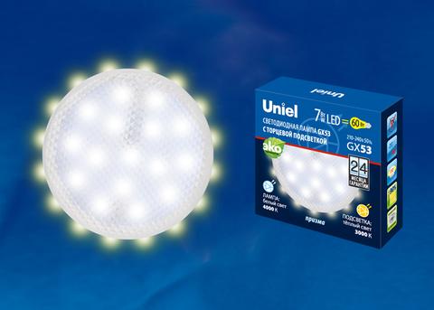 LED-GX53-7W/4000K+3000K/GX53/PR PLB02WH Лампа светодиодная, призма. Белый свет (4000K). Торцевая подсветка, Теплый белый свет (3000K). Картон. ТМ Uniel.
