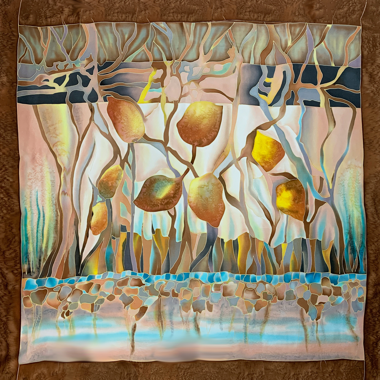 Шелковый платок батик Апельсины в шоколаде