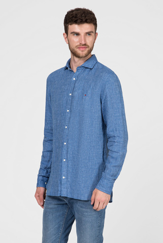 Мужская синяя льняная рубашка SLIM CROSSHATCH Tommy Hilfiger