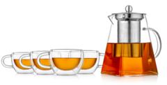 """Заварочный чайник квадратный с чашками – набор """"Квадрат-3"""""""
