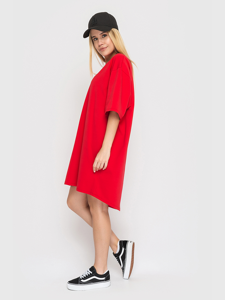 Платье-футболка красное YOS от украинского бренда Your Own Style