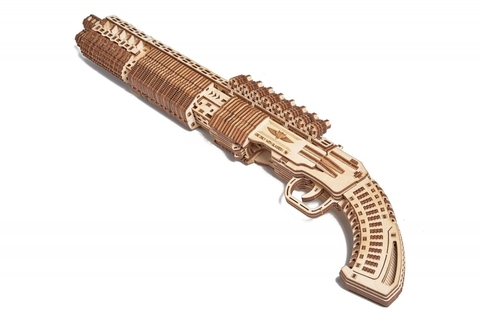 Дробовик SG-12 Shotgun от Wood Trick - Деревянный конструктор, Сборная модель, 3D пазл