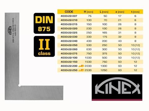 Угольник поверочный 150х100мм кл.2 (УП- плоский) DIN875 Kinex 4033-22-015