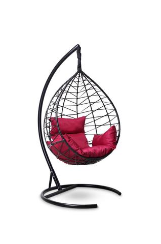 Подвесное кресло-кокон ALICANTE черное + каркас + бордовая подушка