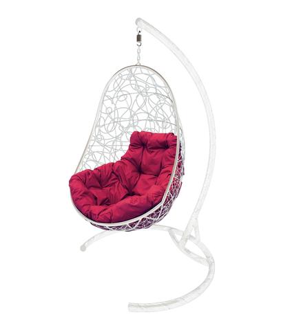 Кресло подвесное Parma white/burgundy