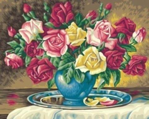 Алмазная Мозаика 40x50 Ваза с розами на подносе (арт. S037 )