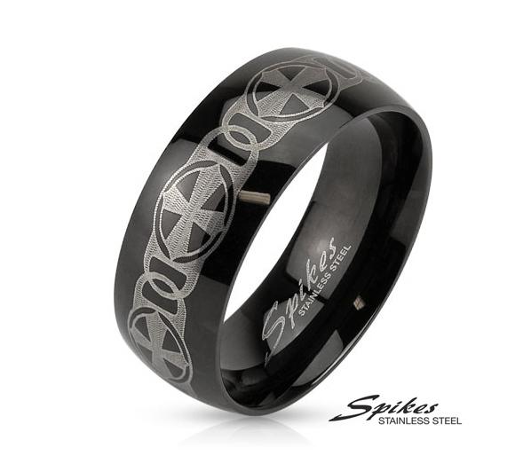 R-M3898-8 Черное стальное кольцо «Spikes» с узором