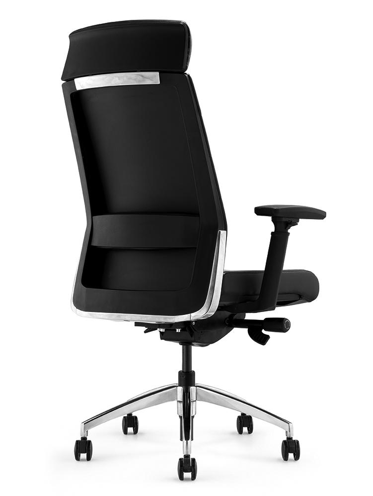 Кресло руководителя Andico HB черная кожа - вид 3