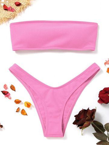 купальник раздельный бандо розовый в рубчик на шнуровке сзади 1
