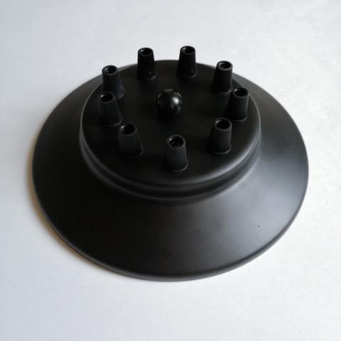 Чашка потолочная на 10 выводов (Черный) d200mm