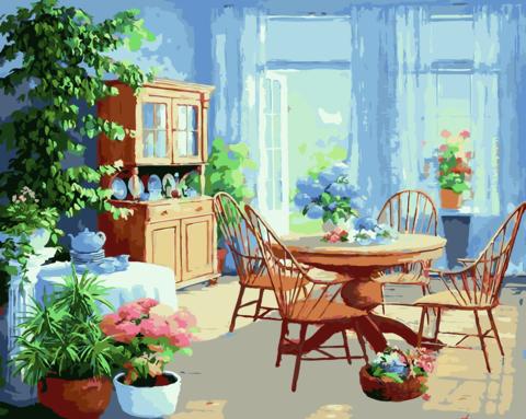 Картина раскраска по номерам 50x65 Кухня с большим количеством цветов