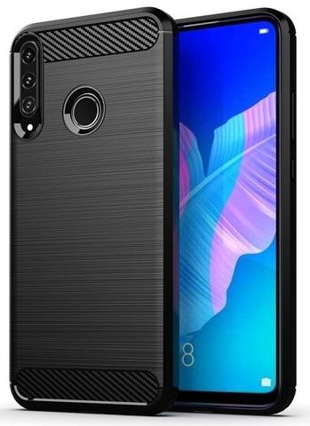 Чехол на телефон Huawei P40 Lite E, серии Carbon (карбон стиль) черный цвет от Caseport