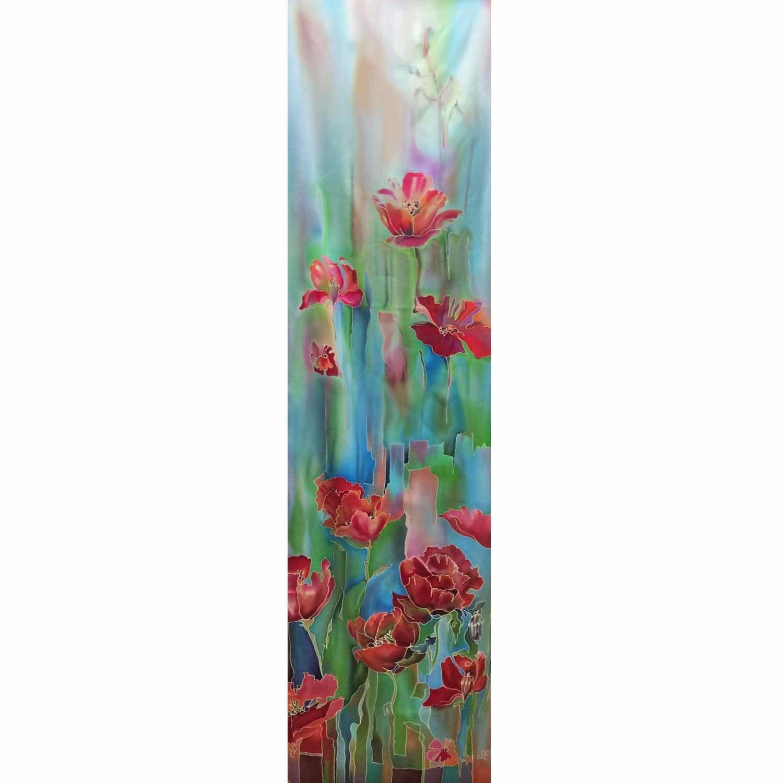 Шелковый шарф батик Яркая весна