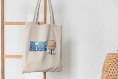 Сумка-шоппер с принтом Босс-молокосос (The Boss Baby) бежевая 008