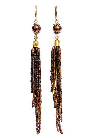 Серьги-каскад бисерные янтарные