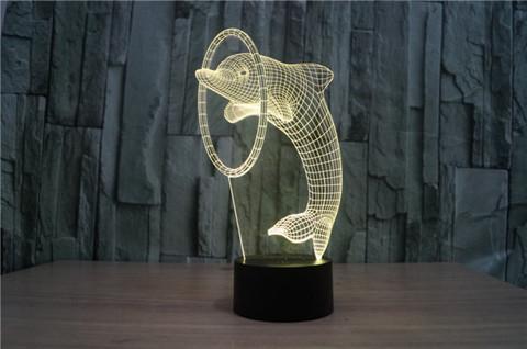 3D светильник Дельфин и кольцо