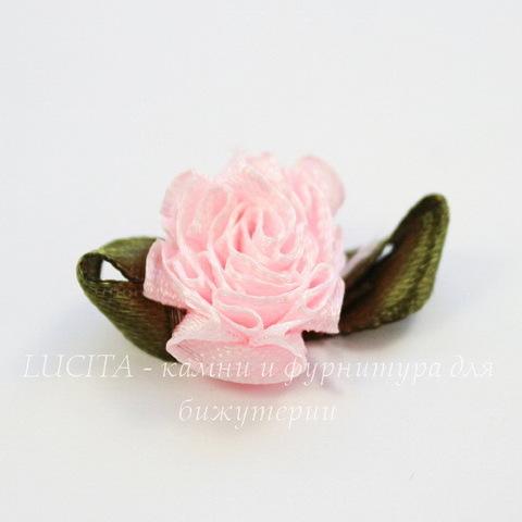 Цветочек с лиcтиком розовый 28 мм
