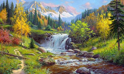 Картина раскраска по номерам 30x40 Водопад в горах